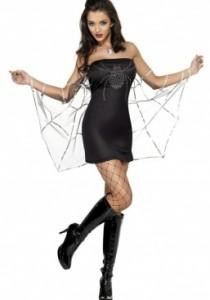 Déguisement Classe Halloween déguisement araignée femme : robe toile d'araignée